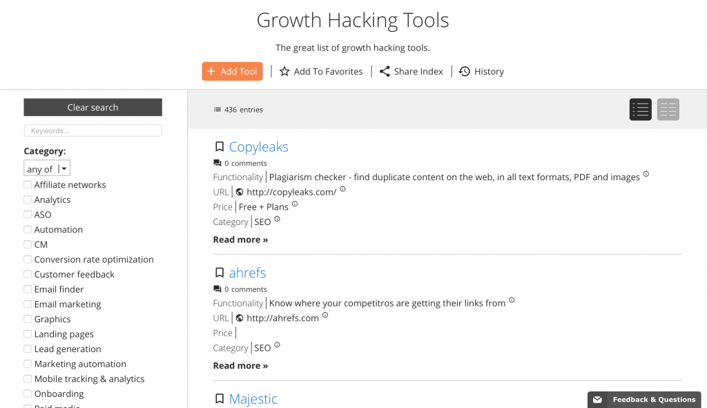 Growth Hacking Tools Directory