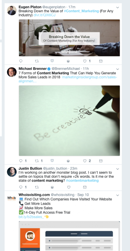 Twitter Search: Content Marketing